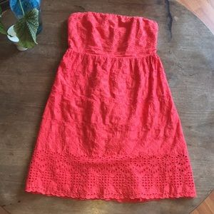 Old Navy coral eyelet lace strapless dress 6